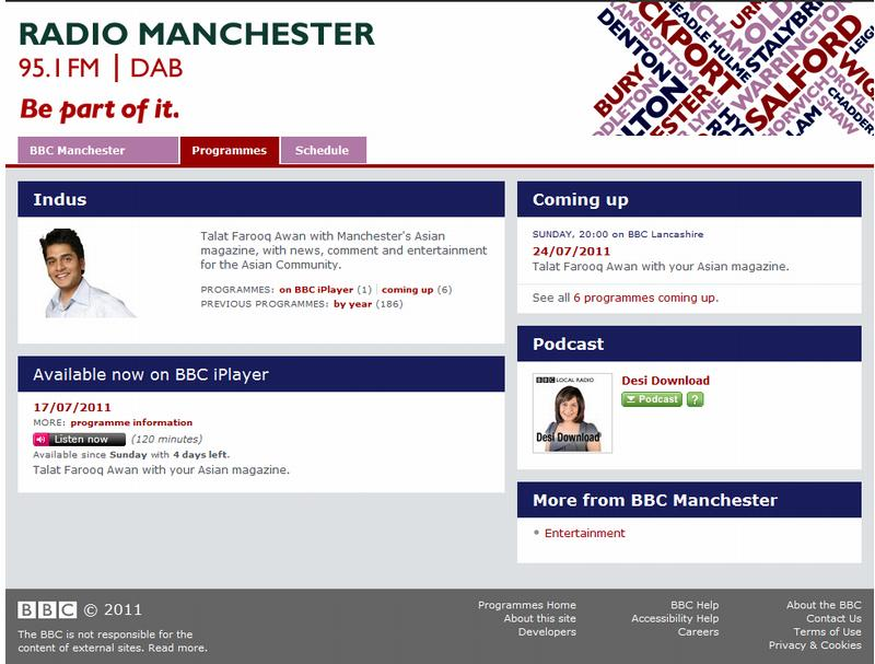 Screenshot of BBC Radio Manchester Indus programme