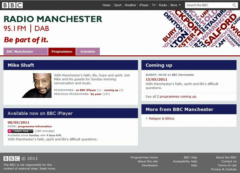 Screenshot of BBC Radio Manchester website showing Mike Shaft