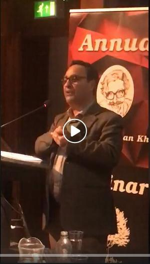 Image of Marwan Darweish speaking with a clickable link to the Facebook video of the full event.