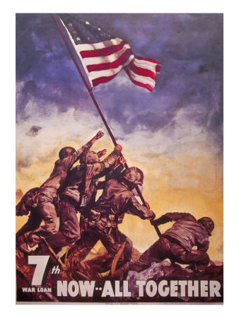 USA war bond poster with photograph of flag raising at Iwo Jima
