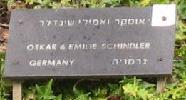Phograph of Oskar Schindler's plaque in the Garden of the Righteous